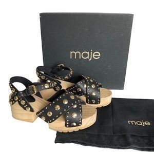 Maje Black Leather Gold Stud Wood Clog Sandals 39